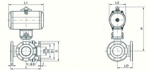 气动三通法兰式球阀结构图