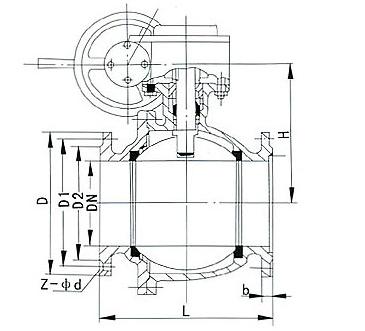 蜗轮固定式球阀 Q347F
