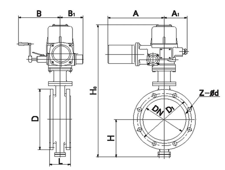 电动法兰式偏心蝶阀 DH943X, DH943H, DH943F